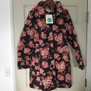 New! Boden floral hooded trench coat Size 8